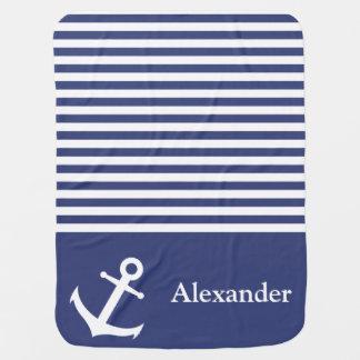 Couvertures Pour Bébé Couverture nautique bleue et blanche faite sur