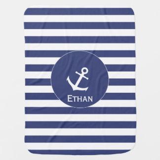 Couvertures Pour Bébé Couverture nautique de bébé blanc et bleu avec le
