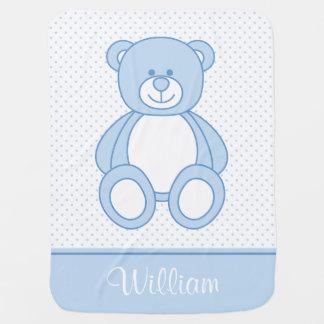 Couvertures Pour Bébé Couverture personnalisée bleue de bébé d'ours de