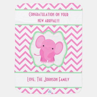 Couvertures Pour Bébé Couverture rose de bébé de Chevron d'éléphant de