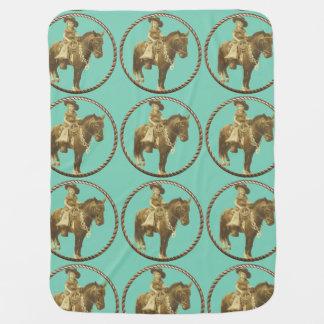 Couvertures Pour Bébé Cow-girl vintage sur le cheval