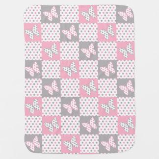 Couvertures Pour Bébé Crèche grise grise rose de fille de point de polka