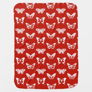 Couvertures Pour Bébé Croquis de papillon, rouge-foncé et blanc