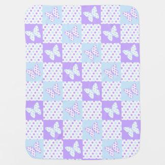Couvertures Pour Bébé Édredon bleu pourpre de point de polka de papillon