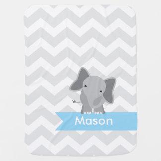 Couvertures Pour Bébé Éléphant bleu gris personnalisé de Chevron