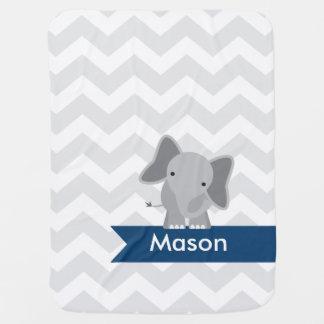 Couvertures Pour Bébé Éléphant gris personnalisé de Chevron de bleu