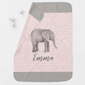 Couvertures Pour Bébé Fille d'éléphant avec l'arrière - plan géométrique
