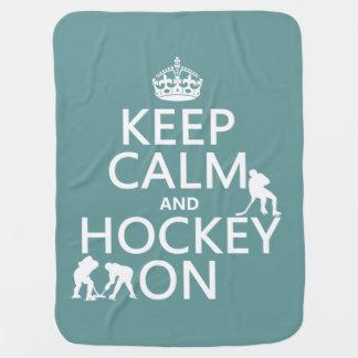 Couvertures Pour Bébé Gardez le calme et l'hockey sur (dans toute