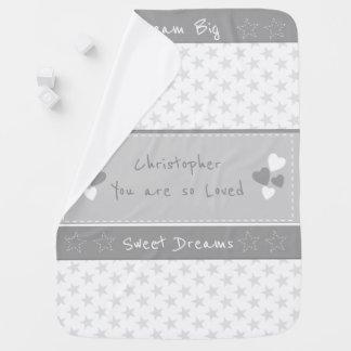 Couvertures Pour Bébé Gris avec grand rêveur personnalisé par étoiles