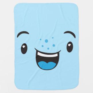 Couvertures Pour Bébé Kawaii de sourire bleu font face à la couverture