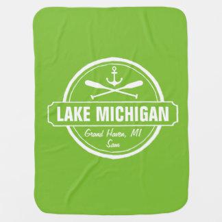 Couvertures Pour Bébé Le lac Michigan, ville faite sur commande, nom,
