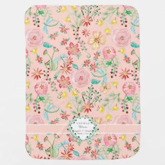 Couvertures Pour Bébé Libellule florale personnalisée d'aquarelle de