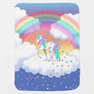 Couvertures Pour Bébé Licorne et étoiles colorées d'arc-en-ciel