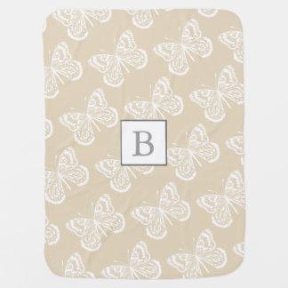 Couvertures Pour Bébé L'initiale du bébé de papillons de Taupe et de