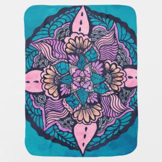 Couvertures Pour Bébé Mandala tiré par la main d'aquarelle florale de