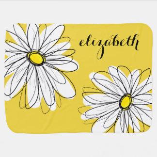 Couvertures Pour Bébé Marguerite lunatique jaune et blanche avec le