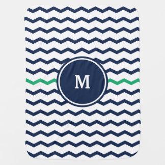 Couvertures Pour Bébé Monogramme bleu de Chevron