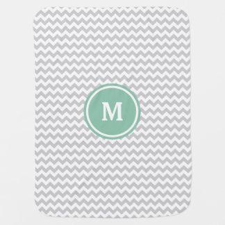 Couvertures Pour Bébé Monogramme gris de Chevron