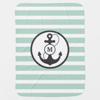 Couvertures Pour Bébé Monogramme nautique vert clair d'ancre