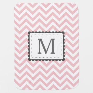 Couvertures Pour Bébé Monogramme rose-clair et blanc de coutume de