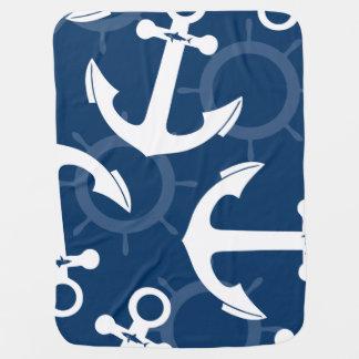 Couvertures Pour Bébé Motif blanc et bleu nautique d'ancres