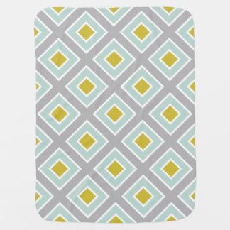 Couvertures Pour Bébé Motif géométrique moderne de vert bleu de menthe