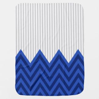 Couvertures Pour Bébé Motif gris moderne de rayures de Chevron de bleu
