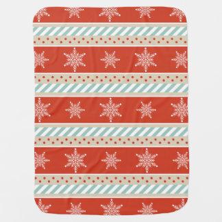Couvertures Pour Bébé Motif rayé rouge de flocons de neige de joli Noël