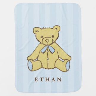 Couvertures Pour Bébé Ours de garçon bleu personnalisé