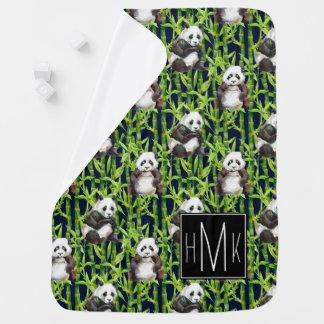Couvertures Pour Bébé Panda avec le monogramme en bambou du motif |