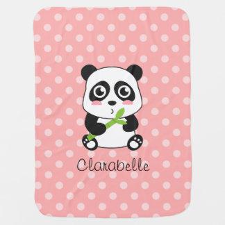 Couvertures Pour Bébé Panda mignon avec le bambou, pois rose