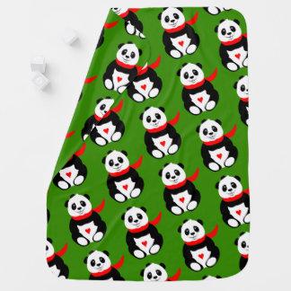 Couvertures Pour Bébé Pandas mignons de bébé avec des casquettes de
