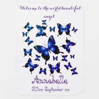 Couvertures Pour Bébé Papillons lunatiques élégants de bleu royal