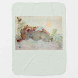 Couvertures Pour Bébé Peter Pan et Wendy endormis avec le vert de