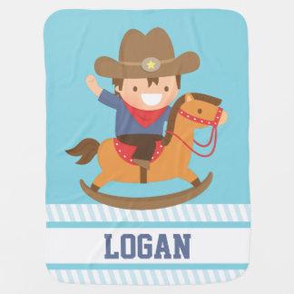 Couvertures Pour Bébé Petit cowboy mignon sur des bébés de cheval de