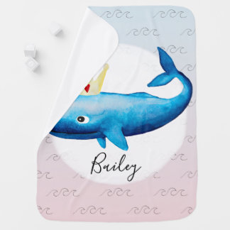 Couvertures Pour Bébé Princesse Whale Ocean Name d'aquarelle d'Ombre de