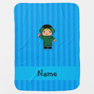 Couvertures Pour Bébé Rayures bleues nommées personnalisées de pilote de