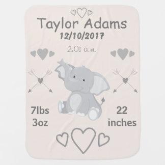 Couvertures Pour Bébé Stat de naissance de crèche de thème d'éléphant