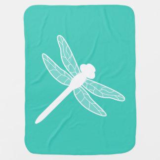 Couvertures Pour Bébé Turquoise et silhouette blanche de libellule