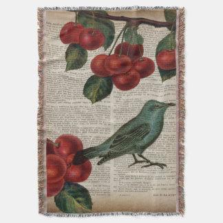 Couvertures rétro cerise rouge botanique d'oiseau français de
