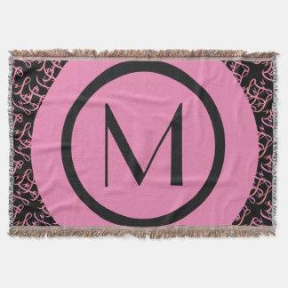 Couvertures Saumon élégant et monogramme initial parisien rose