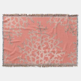 Couvertures Saumon rose de motif de mer de corail d'or de faux