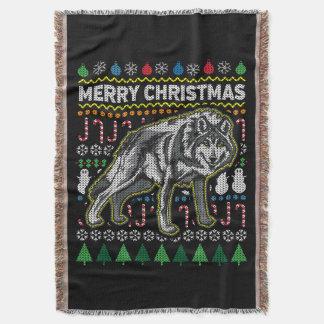 Couvertures Série laide de faune de chandail de Noël de loup