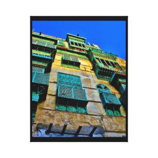 Couvertures vertes de fenêtre toile