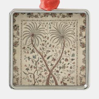 Couvre-lit avec des motifs de palmier ornement carré argenté