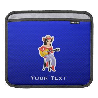 Cow-girl avec la guitare ; Bleu Poches Pour iPad