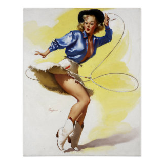 Cow-girl avec le Pin de lasso Posters