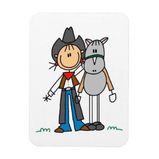 Cow-girl avec le T-shirts et les cadeaux de cheval Magnet Rectangulaire
