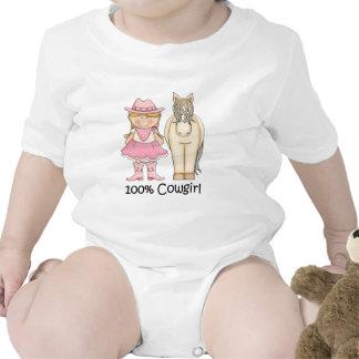 Cow-girl blonde et cheval de 100 pour cent bodies pour bébé