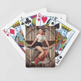 Cow-girl en bois de pays occidental d'étoile de jeu de cartes